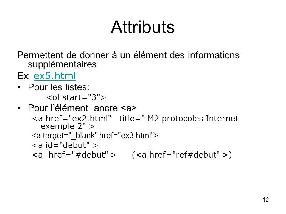 12 Attributs Permettent de donner à un élément des informations supplémentaires Ex: ex5.html ex5.html Pour les listes: Pour lélément ancre ( )