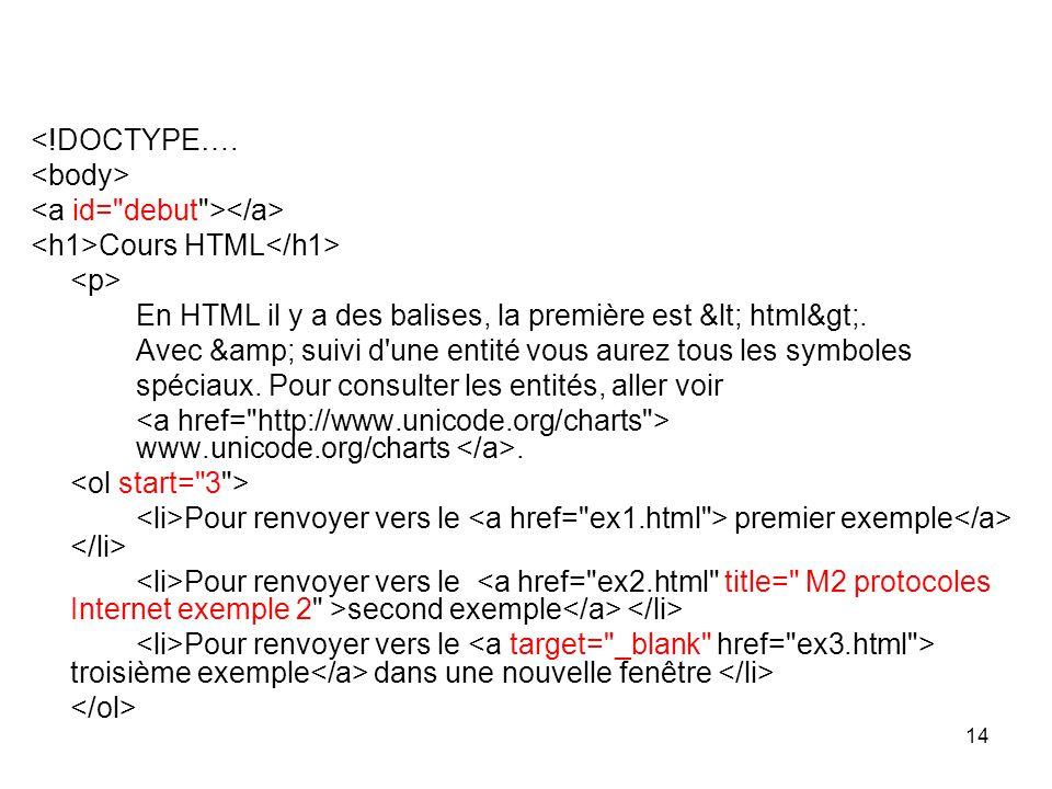 14 <!DOCTYPE….Cours HTML En HTML il y a des balises, la première est < html>.