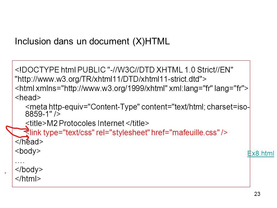 23 Inclusion dans un document (X)HTML <!DOCTYPE html PUBLIC -//W3C//DTD XHTML 1.0 Strict//EN http://www.w3.org/TR/xhtml11/DTD/xhtml11-strict.dtd > M2 Protocoles Internet ….