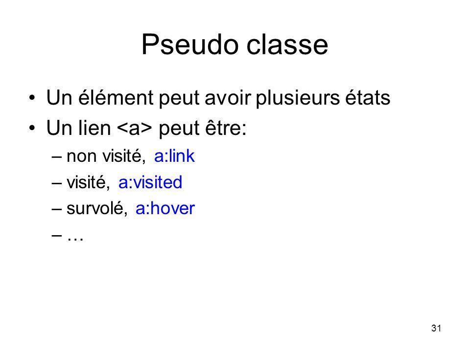 31 Pseudo classe Un élément peut avoir plusieurs états Un lien peut être: –non visité, a:link –visité, a:visited –survolé, a:hover –…