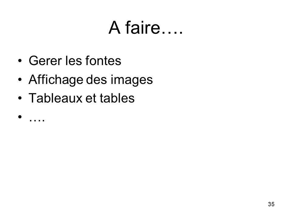 35 A faire…. Gerer les fontes Affichage des images Tableaux et tables ….