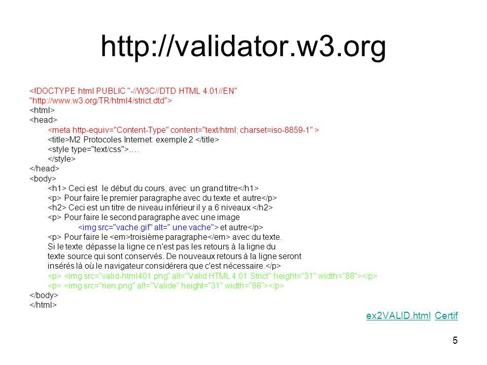 5 http://validator.w3.org <!DOCTYPE html PUBLIC -//W3C//DTD HTML 4.01//EN http://www.w3.org/TR/html4/strict.dtd > M2 Protocoles Internet: exemple 2 ….