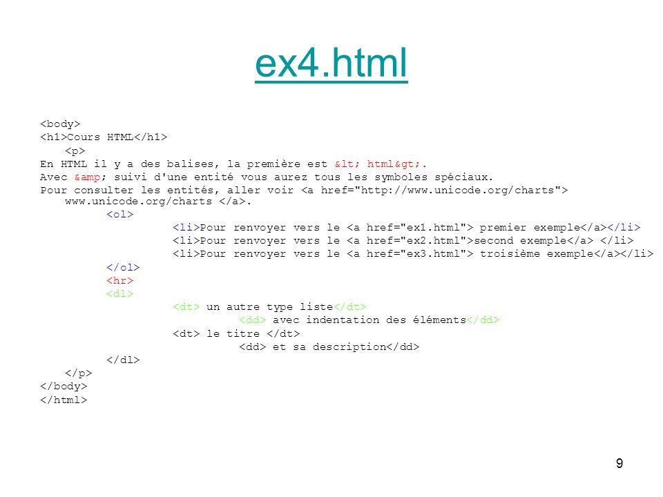 9 ex4.html Cours HTML En HTML il y a des balises, la première est < html>.