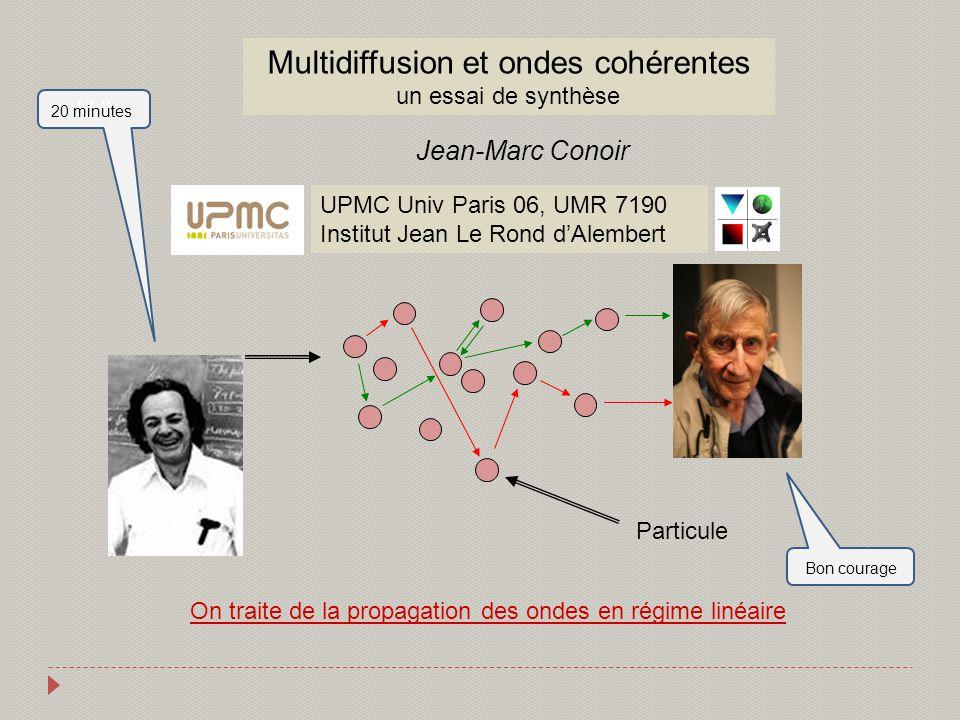 On traite de la propagation des ondes en régime linéaire Particule Multidiffusion et ondes cohérentes un essai de synthèse Jean-Marc Conoir UPMC Univ