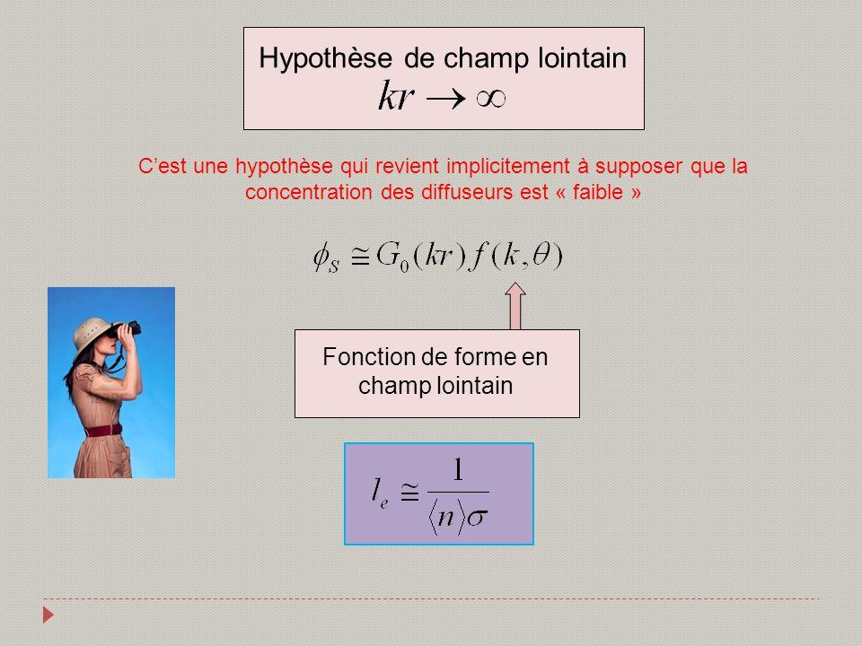 Cest une hypothèse qui revient implicitement à supposer que la concentration des diffuseurs est « faible » Hypothèse de champ lointain Fonction de for