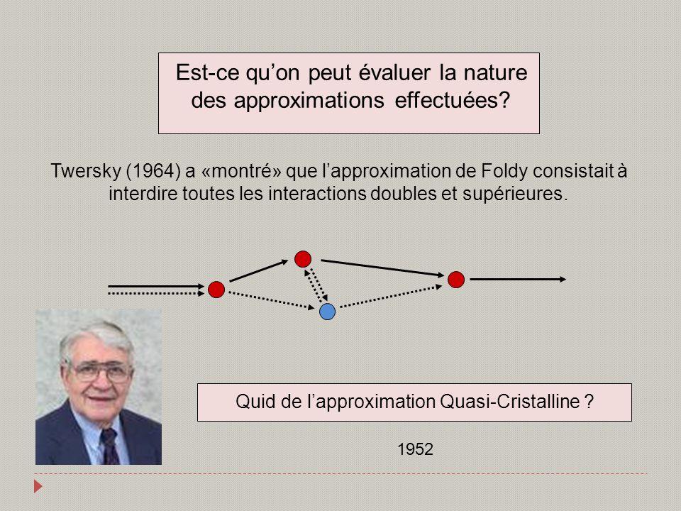 Est-ce quon peut évaluer la nature des approximations effectuées? Twersky (1964) a «montré» que lapproximation de Foldy consistait à interdire toutes