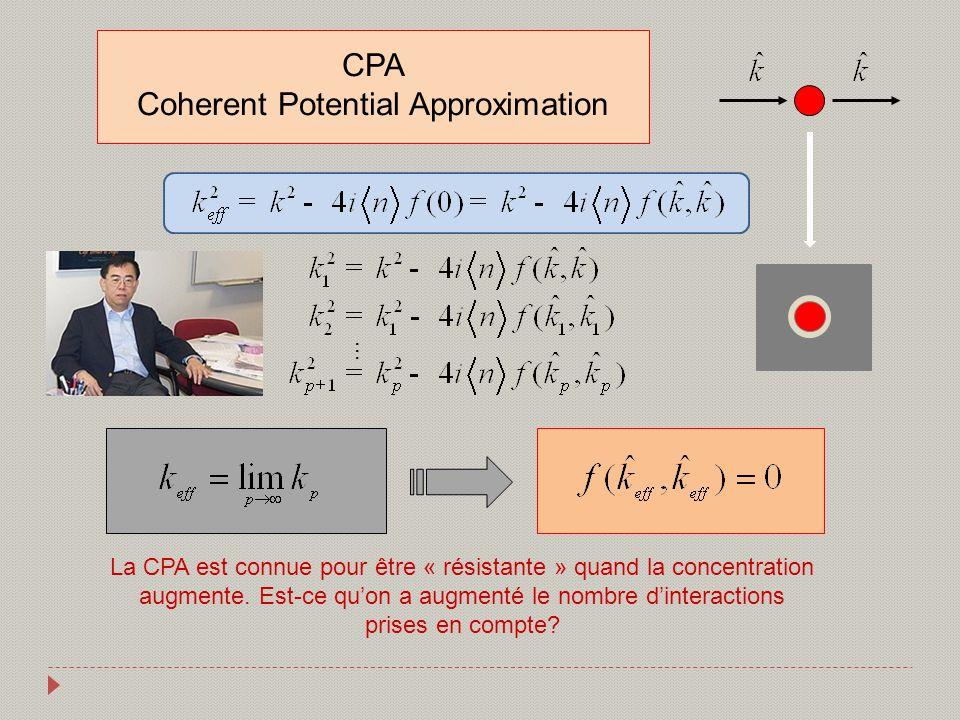 CPA Coherent Potential Approximation … La CPA est connue pour être « résistante » quand la concentration augmente. Est-ce quon a augmenté le nombre di