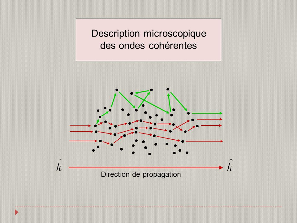 Direction de propagation Description microscopique des ondes cohérentes