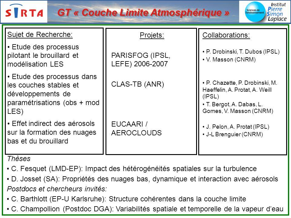 Sujet de Recherche: Etude des processus pilotant le brouillard et modélisation LES Etude des processus dans les couches stables et développements de paramétrisations (obs + mod LES) Effet indirect des aérosols sur la formation des nuages bas et du brouillard Projets: PARISFOG (IPSL, LEFE) 2006-2007 CLAS-TB (ANR) EUCAARI / AEROCLOUDS Collaborations: P.
