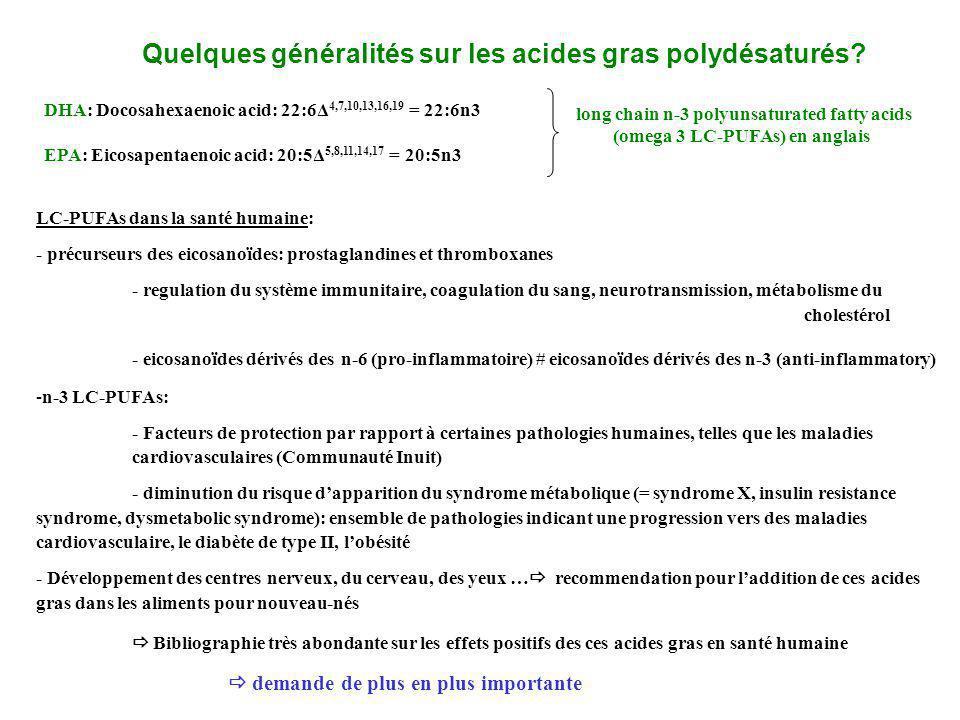 LC-PUFAs dans la santé humaine: - précurseurs des eicosanoïdes: prostaglandines et thromboxanes - regulation du système immunitaire, coagulation du sa