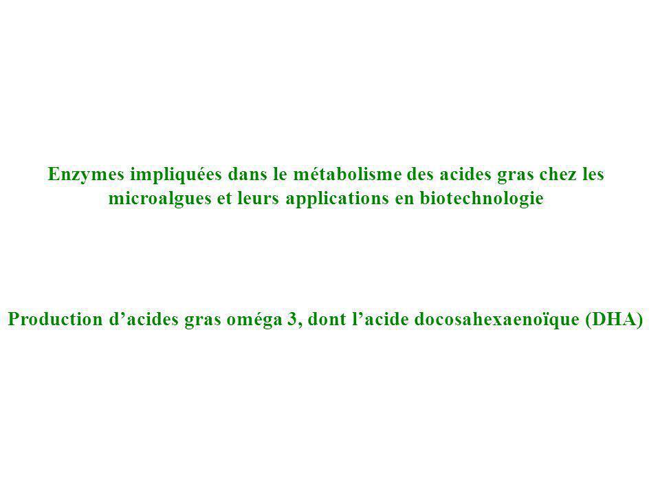 20:3n-3 16:0 palmitic 18:0 stearic 20:4n-6 arachidonic 20:3n-6 dihomo-γ-linolenic 18:3n-6 γ-linolenic 16:1 palmitoleic 18:1 oleic 20:1 eicosenoic 22:1 erucic 24:0 lignoceric 22:0 behenic 20:0 arachidic 20:2n-6 eicosadienoic 18:2n-6 linoleic 22:6n-3 docosahexaenoic, DHA 18:3n-3 α-linolenic 18:4n-3 stearidonic 20:4n-3 eicosatetraenoic 20:5n-3 eicosapentaenoic, EPA 22:5n-3 ω3-docosapentaenoic 22:4n-6 adrenic 22:5n-6 ω6-docosapentaenoic elo Δ7des Δ12des Δ9elo Δ6des elo Δ6elo Δ8des Δ15des Δ9elo Δ8des Δ6des Δ6elo Δ5elo Δ5des Δ4des Δ9des eicosatrienoic Synthèse des acides gras polydésaturés chez les microalgues Oméga 6Oméga 3 elo=élongase des=désaturase Δ5elo Oméga 3 désaturase