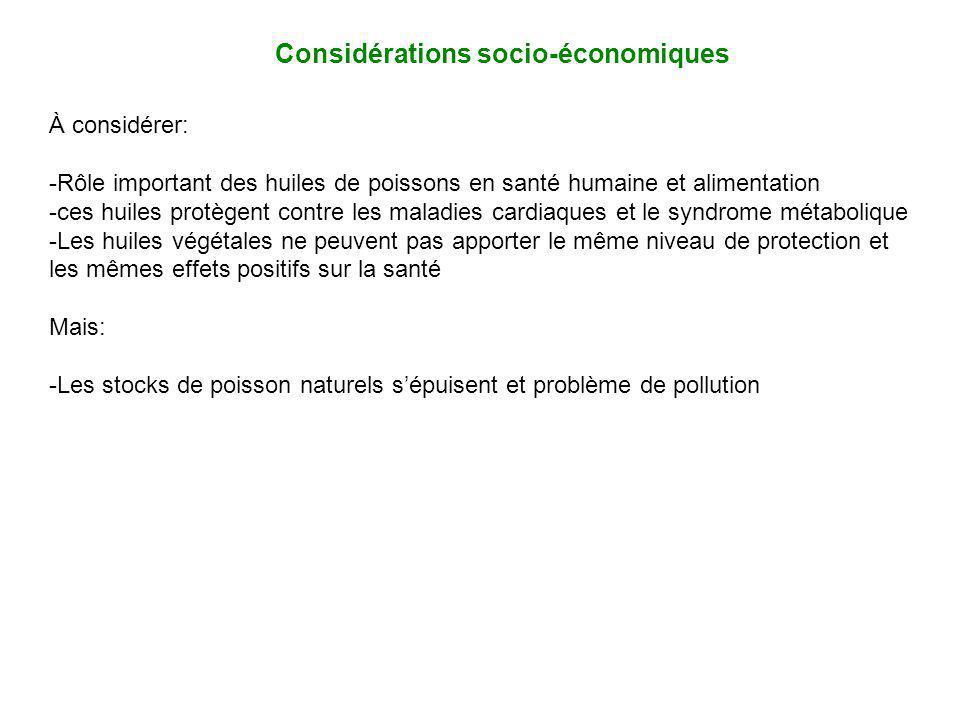 Considérations socio-économiques À considérer: -Rôle important des huiles de poissons en santé humaine et alimentation -ces huiles protègent contre le