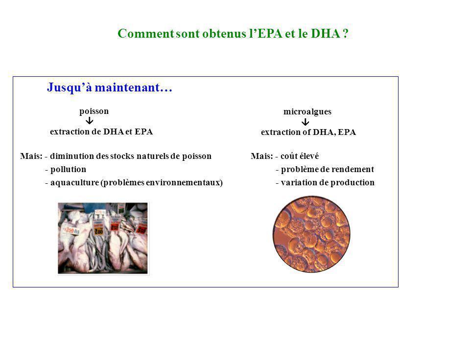 Comment sont obtenus lEPA et le DHA ? Jusquà maintenant… poisson microalgues extraction de DHA et EPA extraction of DHA, EPA Mais: - diminution des st