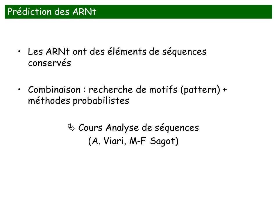 Les ARNt ont des éléments de séquences conservés Combinaison : recherche de motifs (pattern) + méthodes probabilistes Cours Analyse de séquences (A. V