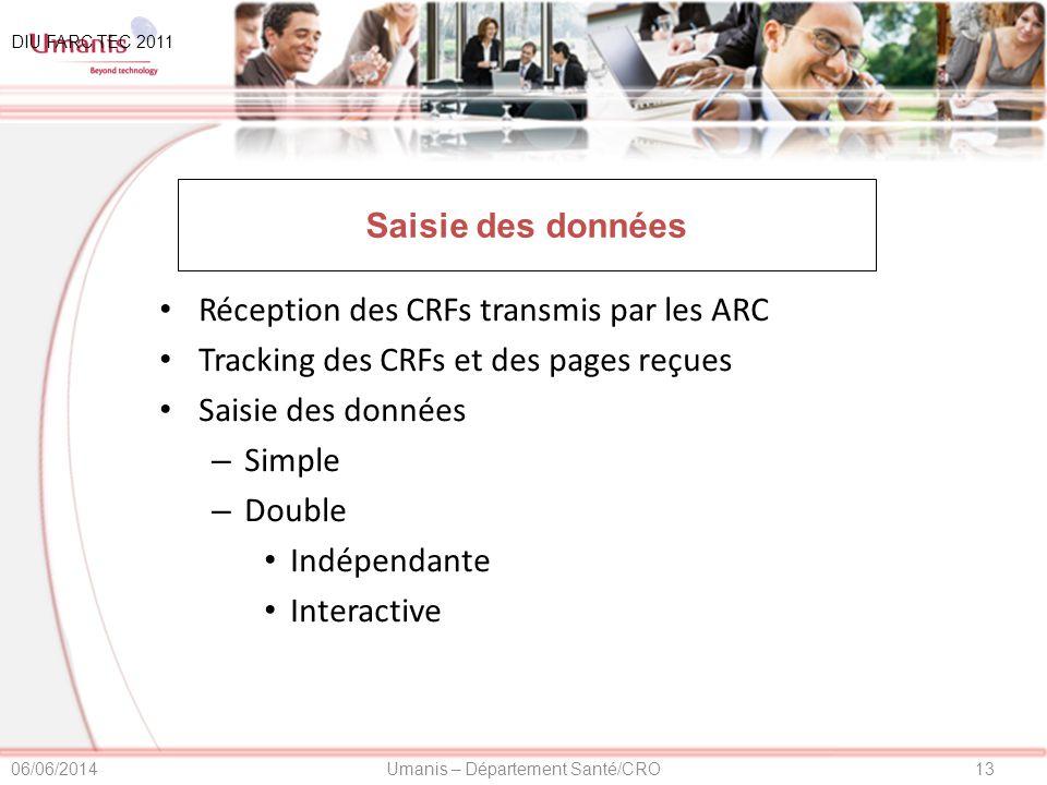13Umanis – Département Santé/CRO06/06/2014 Saisie des données Réception des CRFs transmis par les ARC Tracking des CRFs et des pages reçues Saisie des données – Simple – Double Indépendante Interactive DIU FARC TEC 2011