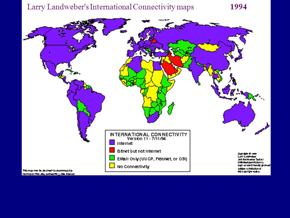 Larry Landweber's International Connectivity maps1994