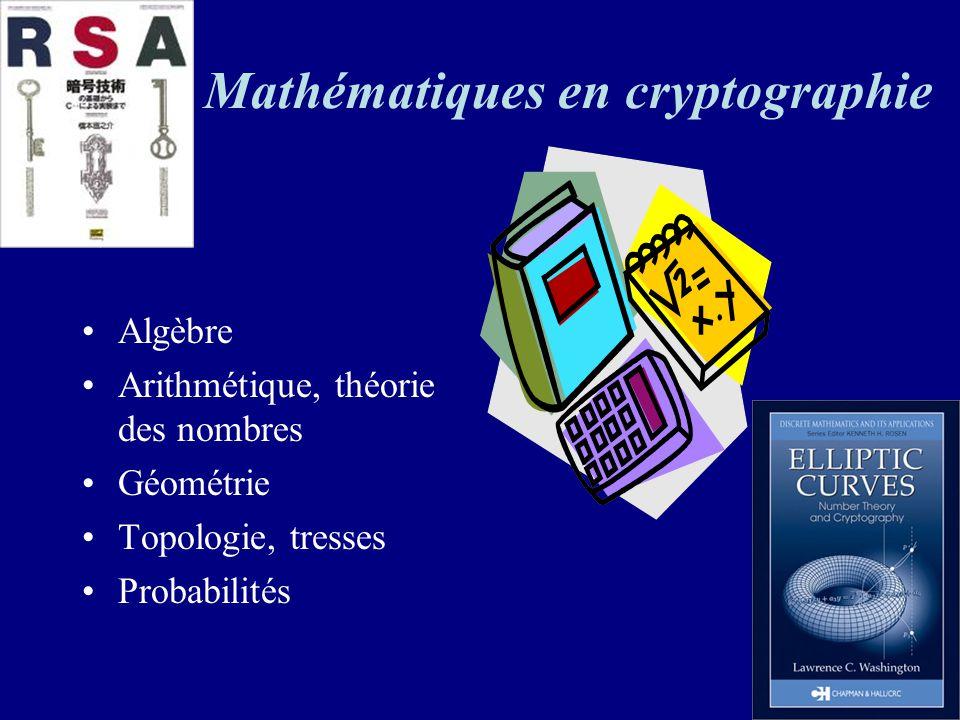 Mathématiques en cryptographie Algèbre Arithmétique, théorie des nombres Géométrie Topologie, tresses Probabilités