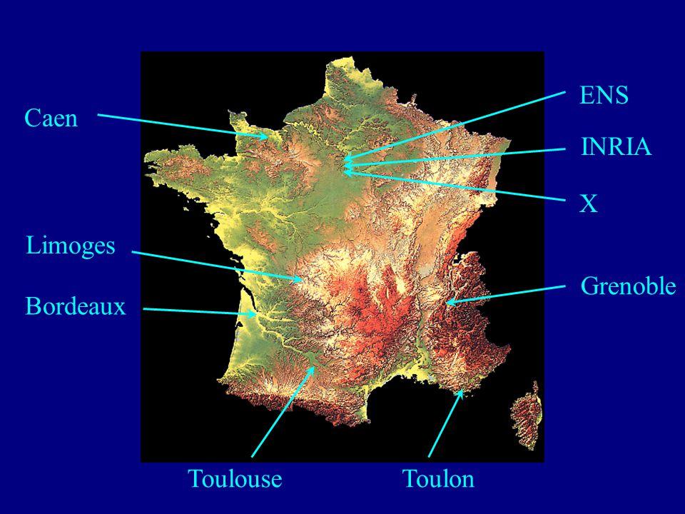 Caen Bordeaux ToulonToulouse Grenoble Limoges X ENS INRIA