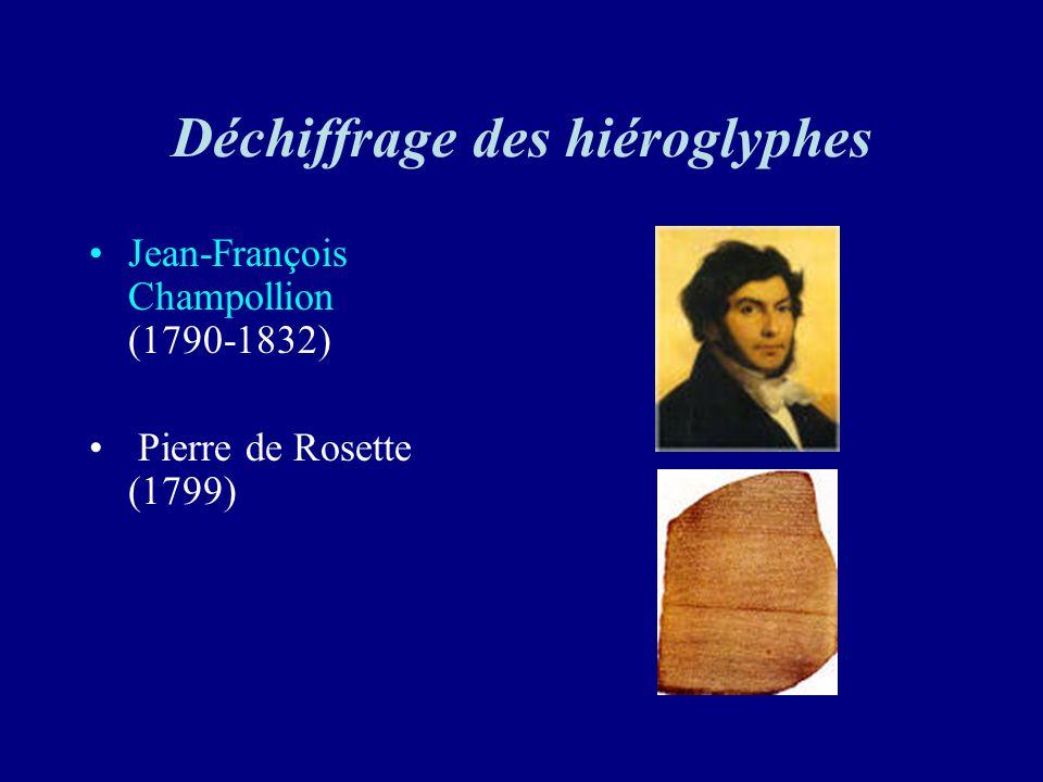 Déchiffrage des hiéroglyphes Jean-François Champollion (1790-1832) Pierre de Rosette (1799)