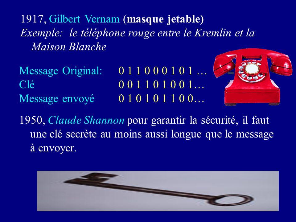 1950, Claude Shannon pour garantir la sécurité, il faut une clé secrète au moins aussi longue que le message à envoyer.