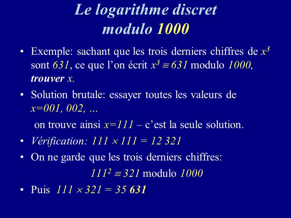 Le logarithme discret modulo 1000 Exemple: sachant que les trois derniers chiffres de x 3 sont 631, ce que lon écrit x 3 631 modulo 1000, trouver x.