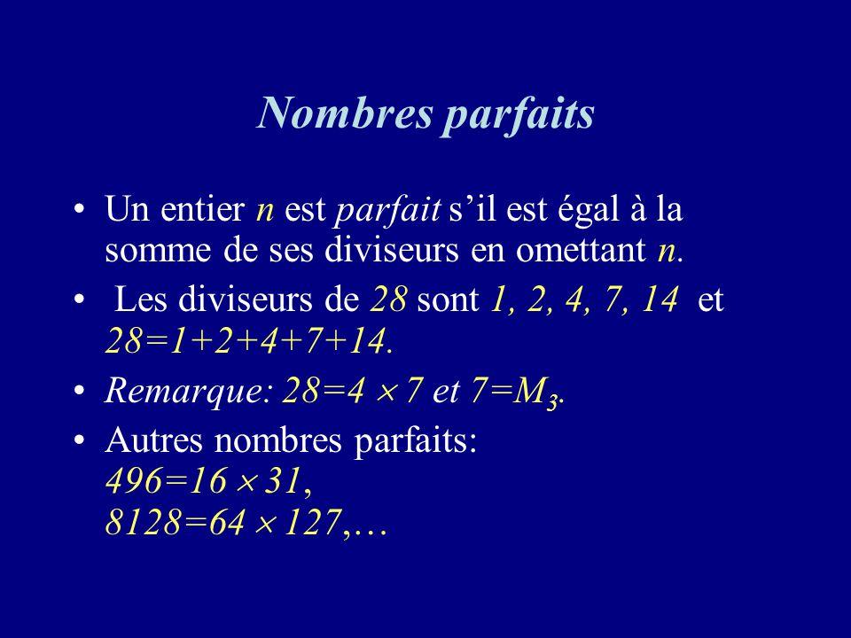Nombres parfaits Un entier n est parfait sil est égal à la somme de ses diviseurs en omettant n.