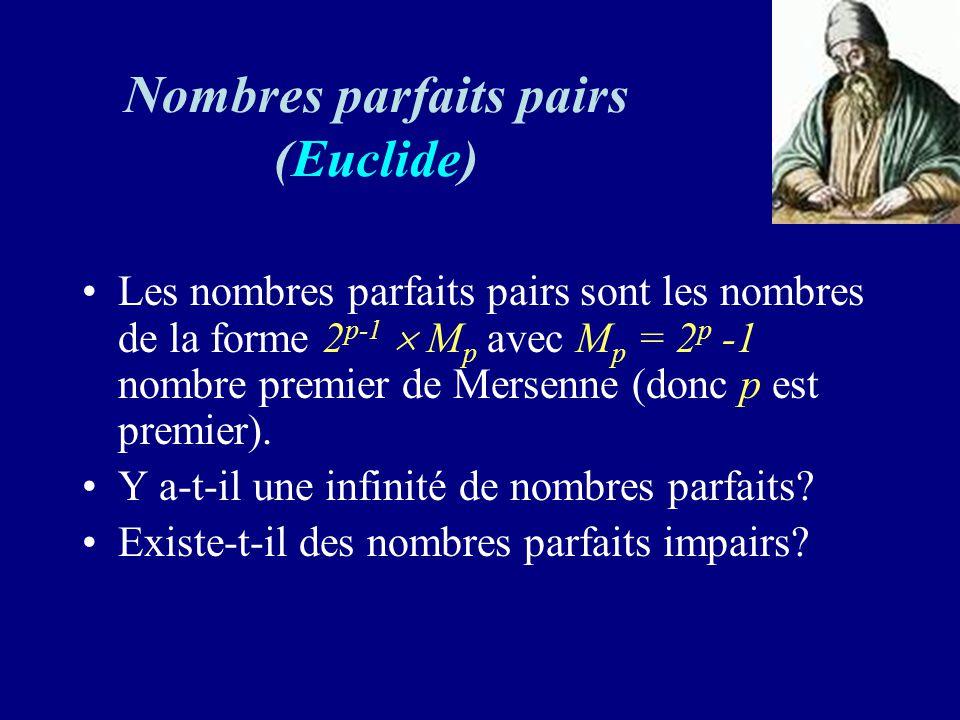 Nombres parfaits pairs (Euclide) Les nombres parfaits pairs sont les nombres de la forme 2 p-1 M p avec M p = 2 p -1 nombre premier de Mersenne (donc p est premier).