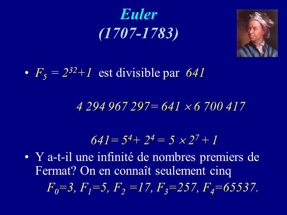 Euler (1707-1783) F 5 = 2 32 +1 est divisible par 641 4 294 967 297= 641 6 700 417 641= 5 4 + 2 4 = 5 2 7 + 1 Y a-t-il une infinité de nombres premiers de Fermat.