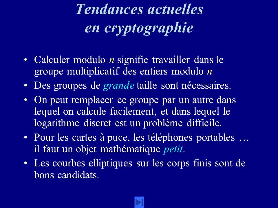 Tendances actuelles en cryptographie Calculer modulo n signifie travailler dans le groupe multiplicatif des entiers modulo n Des groupes de grande taille sont nécessaires.