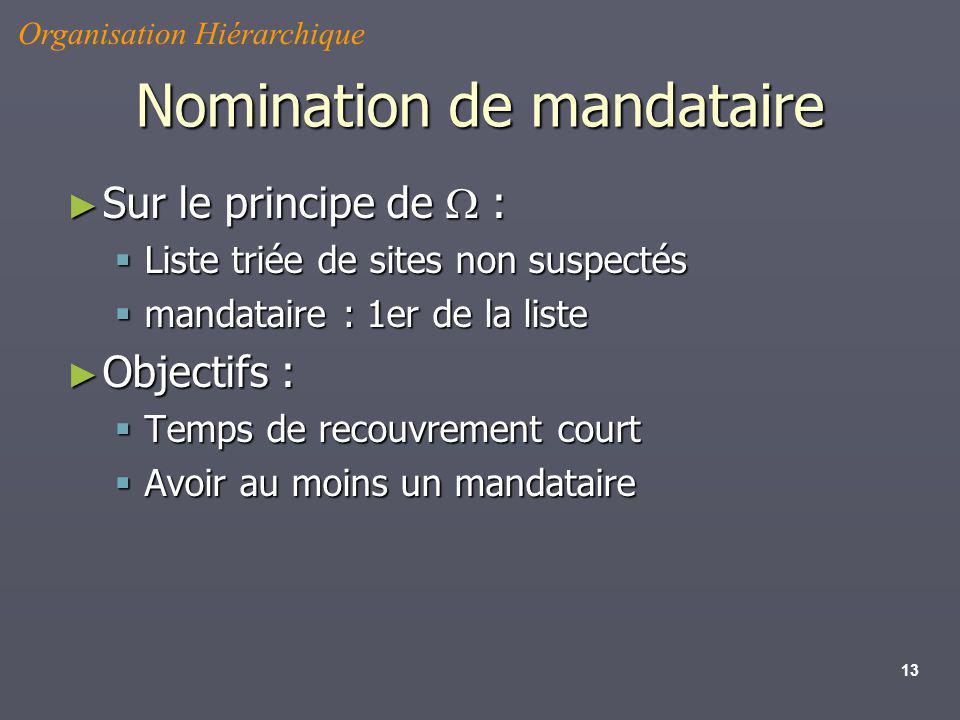 13 Nomination de mandataire Sur le principe de : Sur le principe de : Liste triée de sites non suspectés Liste triée de sites non suspectés mandataire
