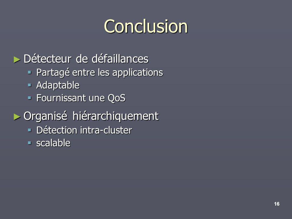 16 Conclusion Détecteur de défaillances Détecteur de défaillances Partagé entre les applications Partagé entre les applications Adaptable Adaptable Fo