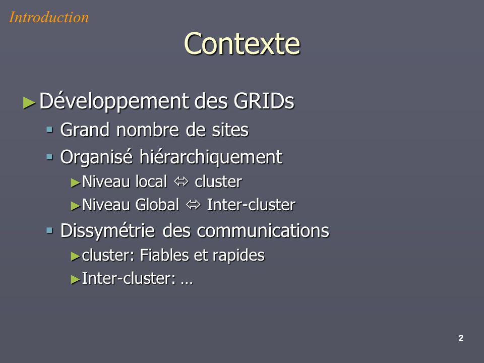 2 Contexte Développement des GRIDs Développement des GRIDs Grand nombre de sites Grand nombre de sites Organisé hiérarchiquement Organisé hiérarchique