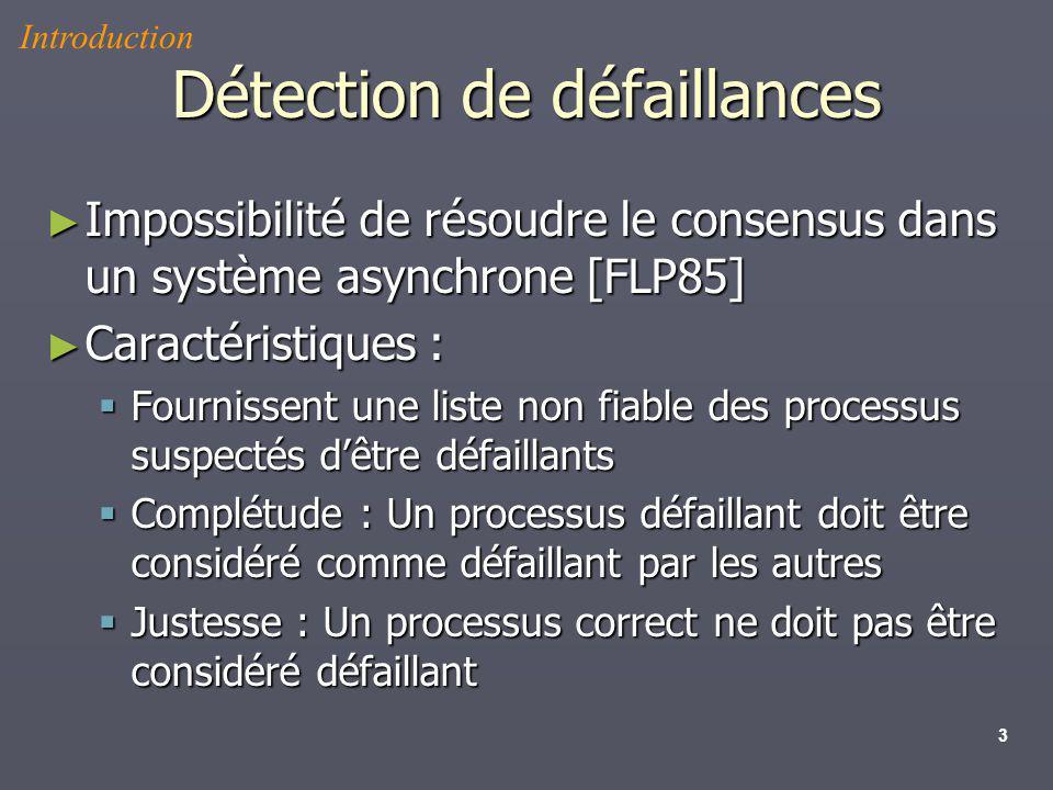 3 Détection de défaillances Impossibilité de résoudre le consensus dans un système asynchrone [FLP85] Impossibilité de résoudre le consensus dans un s