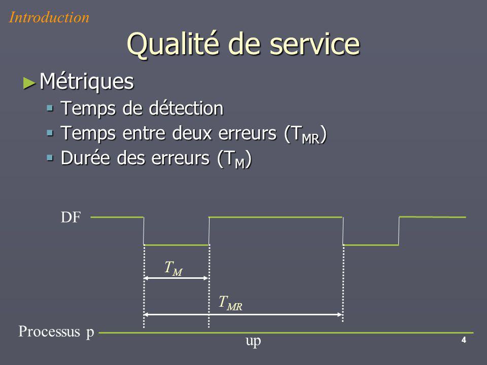 4 Qualité de service Métriques Métriques Temps de détection Temps de détection Temps entre deux erreurs (T MR ) Temps entre deux erreurs (T MR ) Durée