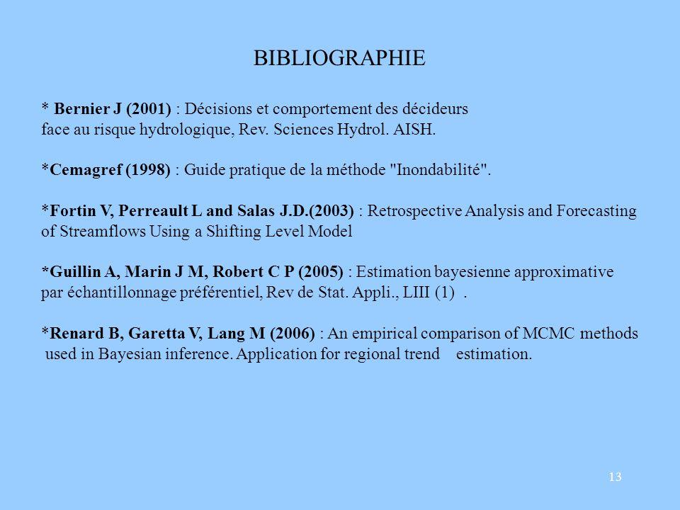 13 BIBLIOGRAPHIE * Bernier J (2001) : Décisions et comportement des décideurs face au risque hydrologique, Rev.