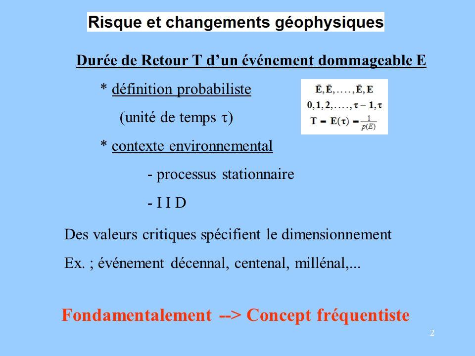 2 Durée de Retour T dun événement dommageable E * définition probabiliste (unité de temps ) * contexte environnemental - processus stationnaire - I I D Fondamentalement --> Concept fréquentiste Des valeurs critiques spécifient le dimensionnement Ex.