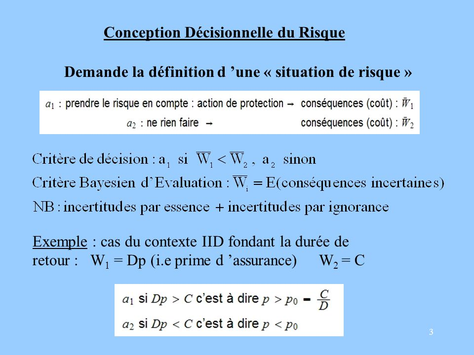 3 Conception Décisionnelle du Risque Demande la définition d une « situation de risque » Exemple : cas du contexte IID fondant la durée de retour : W 1 = Dp (i.e prime d assurance) W 2 = C