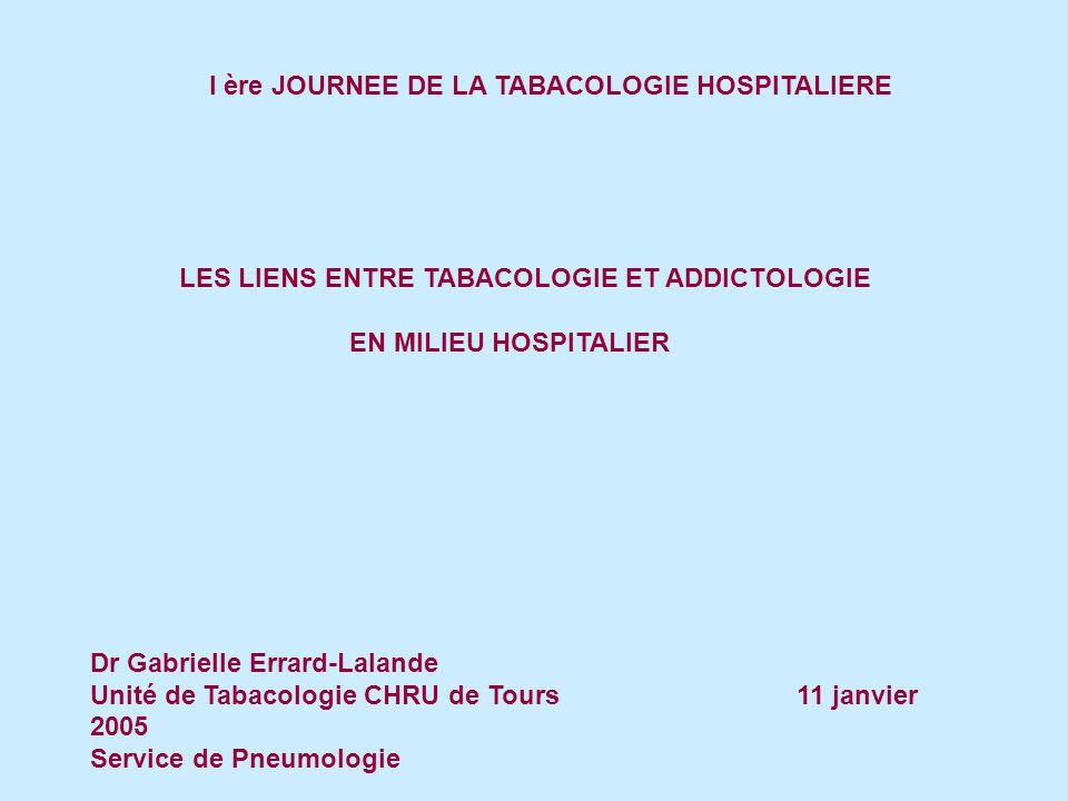 I ère JOURNEE DE LA TABACOLOGIE HOSPITALIERE LES LIENS ENTRE TABACOLOGIE ET ADDICTOLOGIE EN MILIEU HOSPITALIER Dr Gabrielle Errard-Lalande Unité de Tabacologie CHRU de Tours 11 janvier 2005 Service de Pneumologie
