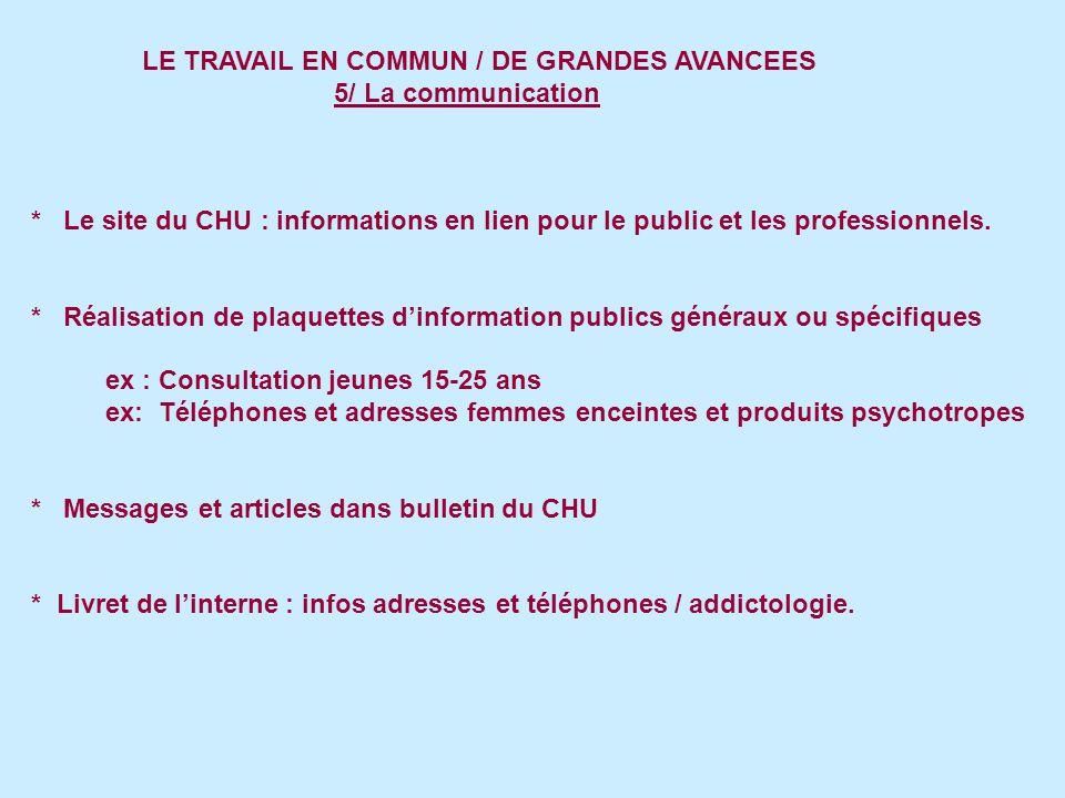 LE TRAVAIL EN COMMUN / DE GRANDES AVANCEES 5/ La communication * Le site du CHU : informations en lien pour le public et les professionnels.
