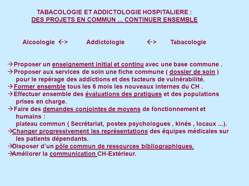 TABACOLOGIE ET ADDICTOLOGIE HOSPITALIERE : DES PROJETS EN COMMUN...