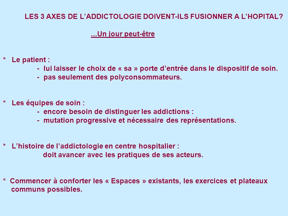 LES 3 AXES DE LADDICTOLOGIE DOIVENT-ILS FUSIONNER A LHOPITAL?...Un jour peut-être * Le patient : - lui laisser le choix de « sa » porte dentrée dans le dispositif de soin.