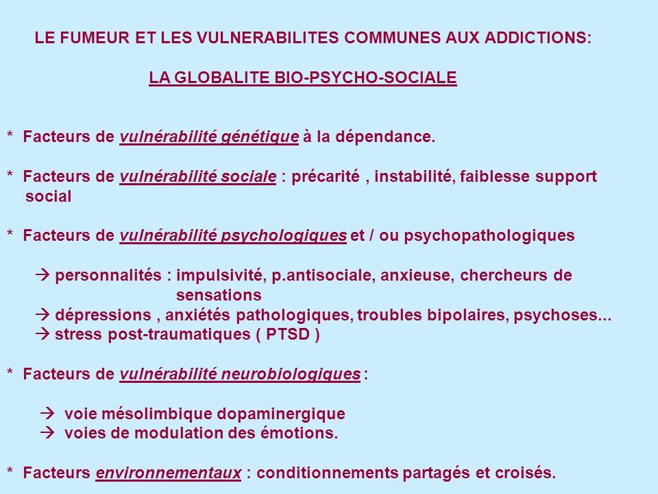 LE FUMEUR ET LES VULNERABILITES COMMUNES AUX ADDICTIONS: LA GLOBALITE BIO-PSYCHO-SOCIALE * Facteurs de vulnérabilité génétique à la dépendance.
