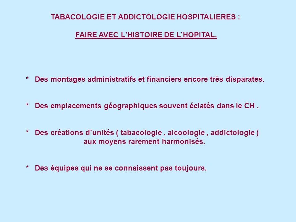 TABACOLOGIE ET ADDICTOLOGIE HOSPITALIERES : FAIRE AVEC LHISTOIRE DE LHOPITAL.