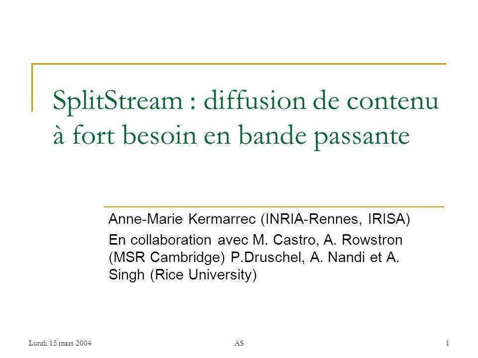 Lundi 15 mars 2004AS1 SplitStream : diffusion de contenu à fort besoin en bande passante Anne-Marie Kermarrec (INRIA-Rennes, IRISA) En collaboration avec M.