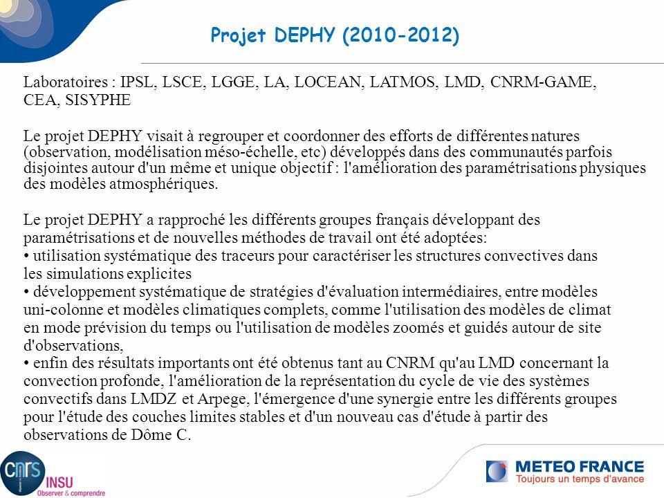 1 Projet DEPHY (2010-2012) Laboratoires : IPSL, LSCE, LGGE, LA, LOCEAN, LATMOS, LMD, CNRM-GAME, CEA, SISYPHE Le projet DEPHY visait à regrouper et coo