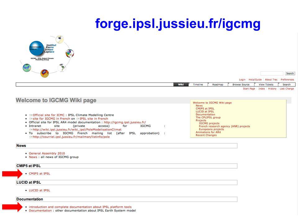 Arborescence sur serveur de fichiers IDRIS TS_DA TS_MO IPSLCM5A/DEVT/pdControl OCE SRF CPL RESTART JobName ATM DEBUG ICE Analyse Output [INS]DA[HF]MO gaya : cd IGCM_OUT SE MBGSBG NCRCAT Fichiers archivés à la fréquence définie (PackFrequency) TAR MONITORING ATLAS