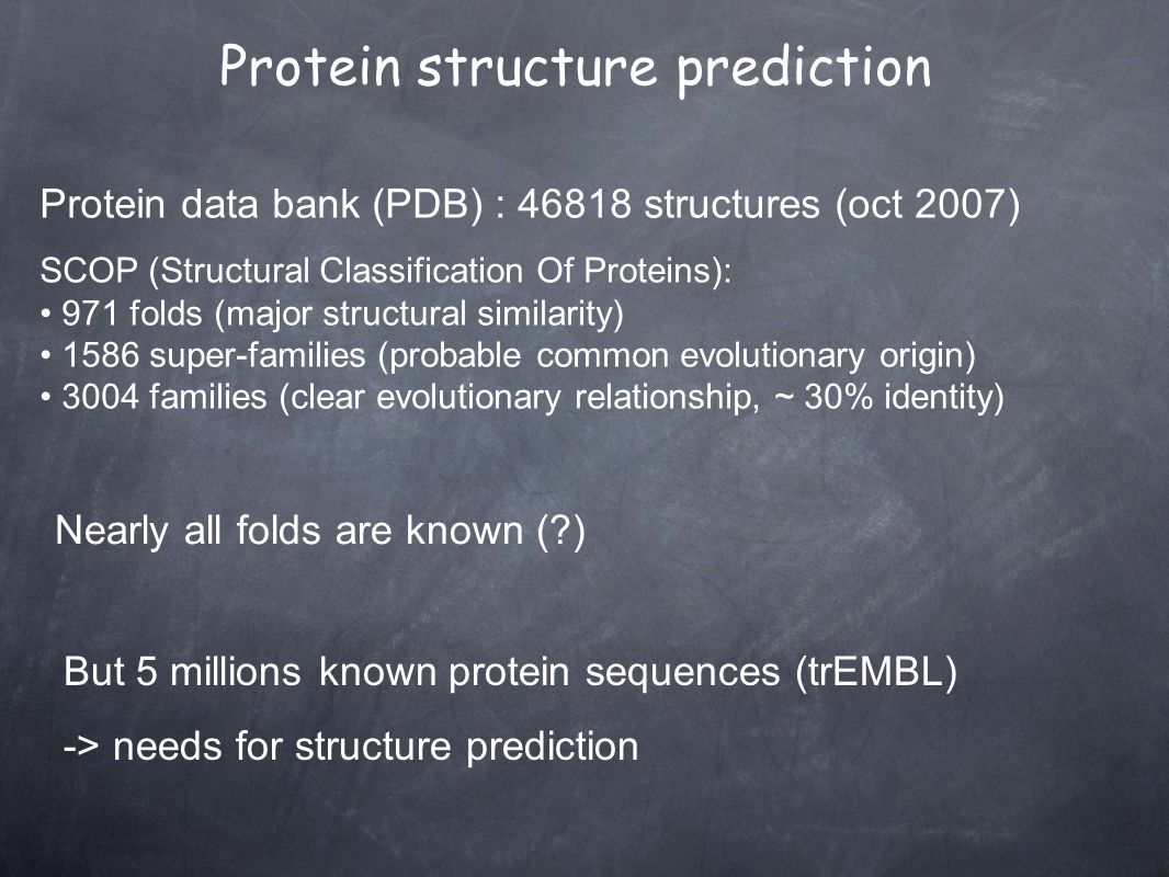 Protein data bank (PDB) : 46818 structures (oct 2007) SCOP (Structural Classification Of Proteins): 971 folds (major structural similarity) 1586 super-families (probable common evolutionary origin) 3004 families (clear evolutionary relationship, ~ 30% identity) Nearly all folds are known ( ) But 5 millions known protein sequences (trEMBL) -> needs for structure prediction Protein structure prediction