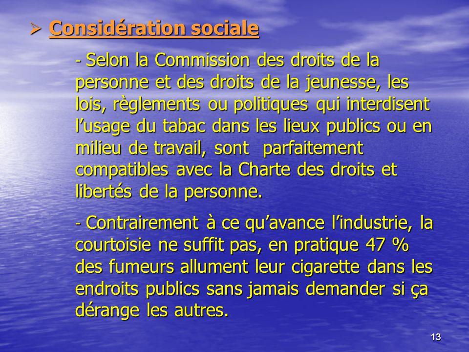 13 Considération sociale - Selon la Commission des droits de la personne et des droits de la jeunesse, les lois, règlements ou politiques qui interdis