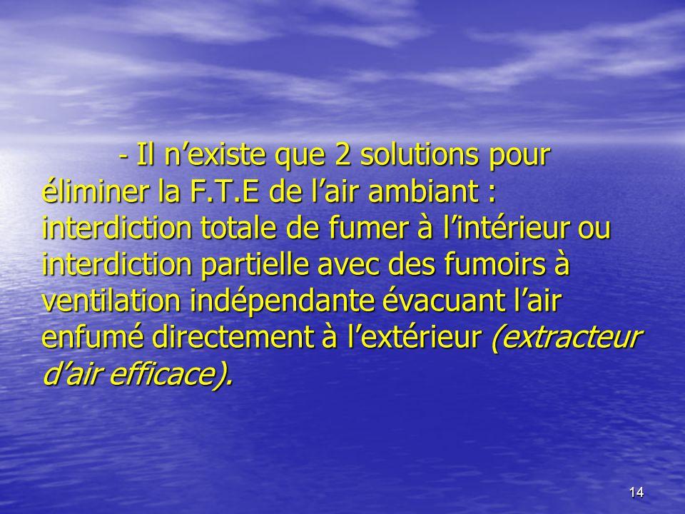 14 - Il nexiste que 2 solutions pour éliminer la F.T.E de lair ambiant : interdiction totale de fumer à lintérieur ou interdiction partielle avec des