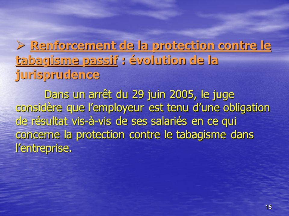 15 Renforcement de la protection contre le tabagisme passif : évolution de la jurisprudence Dans un arrêt du 29 juin 2005, le juge considère que lempl